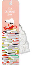 "NEW - ""Just one more book"" cat, books bookmark with tassel"