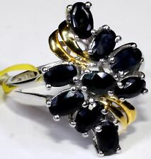 Black Sapphire Ring 14K YG  Platinum Overlay Sterling Silver Size 9 TGW 3.15 Cts