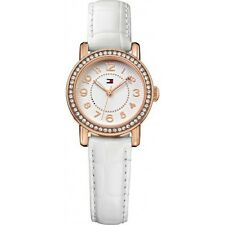 Tommy Hilfiger Women White Leather Rose Gold Crystals Watch 28mm 1781475 $125