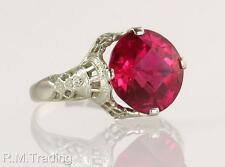 Antique Vintage 14K White Gold 2.00ct Ruby Filigree Art Deco Engagement Ring