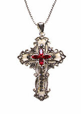 Victorian Rustic Silver Diamante Encrusted Red Classic Cross Necklace(Zx80)