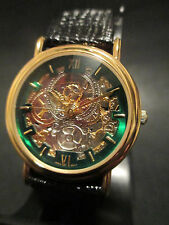 B24 NEW JB CHAMPION Gold Dress Skeleton Leather Band WATCH VINTAGE Classy Quartz
