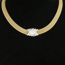NYJEWEL Dankner 14k Two Tone Gold 1.1ct Diamond Slide Pendant Mesh Necklace 16""