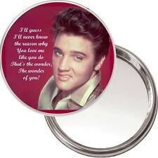 "Elvis Presley Makeup Button Mirror ""The Wonder of You..."" in black organza bag."