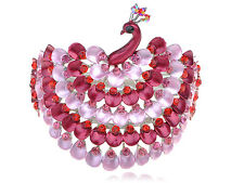 Ruby Rose Pink Enamel Paint Bead Crystal Rhinestone Peacock Bangle Bracelet Cuff