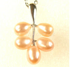 Pink Leaf Fresh Water Pearl Birthday Xmas Wedding Party Chain Pendant Necklace