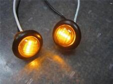 "LOT 2 LED 3/4"" YELLOW AMBER ROUND MINI MARKER LIGHTS TRAILER TRUCK CAR"