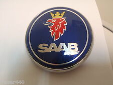 SAAB  BLUE Bonnet Badge 9-3 03-12 & 9-5 97-10 68mm/63mm FREE UK P&P