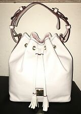 Auth DOONEY & BOURKE Bone GRAINED LEATHER DRAWSTRING Bucket TOTE Structured Bag