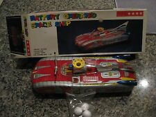 BATTERY OPERATED TIN SPACE SHIP ME102 MIB,NOS.GREAT CONDITION TOY AND BOX