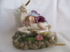 MYSTICAL FAIRY AND UNICORN FANTASY FIGURE ORNAMENT  ( A )
