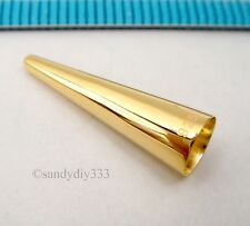 2x REAL 18K GOLD plated STERLING SILVER END CAP CONE BEAD 19mm x 5.8mm G218
