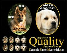 PET PERSONALIZED CERAMIC PICTURE. MEMORIAL GRAVE STONE ANIMAL DOG CAT MARKER NEW