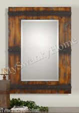 "Extra Large 43"" RUSTIC WOOD Wall Mirror Vanity Mantle Horchow Cabin Lodge Ranch"