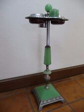 ART DECO JADITE SMOKE STAND w/TWO ASHTRAYS, CIGARETTE HOLDER & DOME LIGHTER