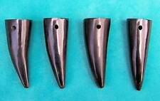4 x SMALL BLACK BUFFALO HORN TIP PENDANTS 50 mm