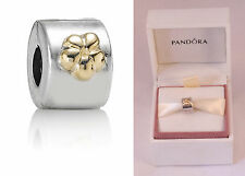 PANDORA Gold Flower Clip Charm Bead Sterling Silver 925 & ALE 790140 RRP £70