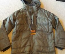 NEW MEN'S HAWKE & CO. THE CLARKSON DOWN HOODED PARKA JACKET LARGE OLIVE GREEN