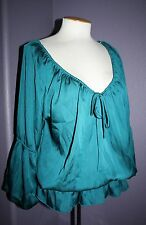 NWT Dressbarn Satin Teal Smocked Bubble Sleeve Poet Peasant Blouse Top L