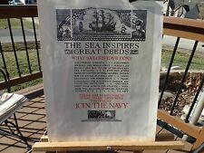 """PRINT OF WWII NAVY RECRUITMENT POSTER NAMED """"THE SEA INSPIRES GREAT DEEDS"""""""
