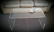 """Clear Acrylic Lucite """"Kira"""" Waterfall Style Coffee Table"""
