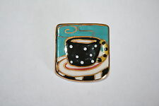 Brooch Pin - Cup of Hot Coffee Tea - Ceramic - Enamel - Gold Tone