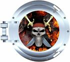 Fire flame pirate skull porthole decal Camper RV motor home mural graphic