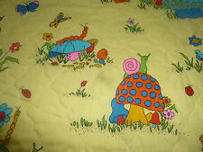 """Vintage Pre-Quilted Fabric Novelty Mushrooms Bugs Butterflies on Yellow 2 YD 26"""""""