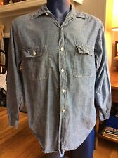 Vintage Penneys Big Mac Chambray Cotton Stamped Work Shirt Mens Large