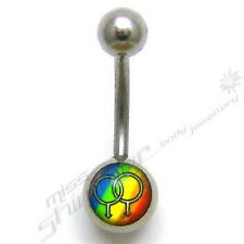 GAY PRIDE BELLY BAR MALE PRIDE  LOGO BELLY NAVEL BAR