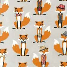 "ROBERT KAUFMAN ""FOX AND THE HOUNDSTOOTH"" FOX Grey by yard"