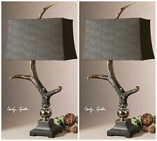 TWO AGED IVORY DEER / ELK HORN STYLE TABLE LAMPS ALUMINUM ACCENTS SUEDE SHADES