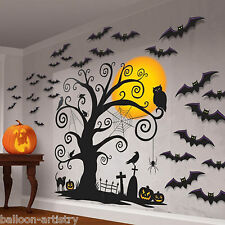 Halloween Mega Party CREEPY TREE Scene Setter Silhouette Art Decoration Kit