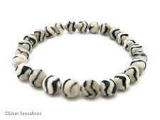 Faceted White Agate With Black Wavy Zig Zag Stripes Beaded Stretch Bracelet