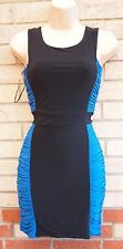 HEADGIRL BLACK BLUE RUCHED GRECIAN BLOCK SLIMMING TUBE BODYCON RARE DRESS S M