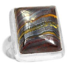 Iron Tiger Eye 925 Sterling Silver Ring Jewelry s.6.5 SSS ITER197