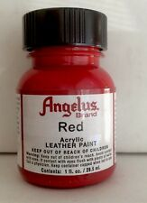 Angelus Red acrylic leather paint 1 oz. bottle