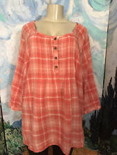 DRESSBARN PLUS 1X PEACH/CORAL PLAID BUTTON PIN-TUCK 3/4 TAB SLEEVE TUNIC TOP