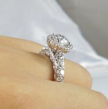 CZ Cubic Zirconia Round Cut Vintage Women 18K White Gold Plated Engagement Ring