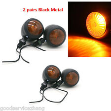 2 pairs Black Metal Motorcycle Turn Signal Indicator Light Lamp Bulb For Harley
