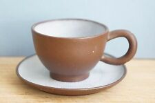 Chinese Yixing Pottery Tea cup/ saucer set, marked, crackling [Y7-W6-A9-E9]