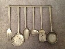 vintage solid brass 6 piece utensils plus wall mount hook