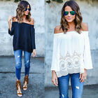 Fashion Sexy Women Summer Cotton Blouse Off Shoulder Loose Casual T Shirt Tops