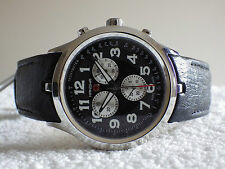 SALE Hanowa Hand Made Swiss Military Watch Chronograph Black Leather Strap NEW