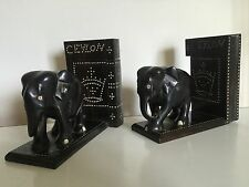 Rare Antique Inlaid Ebony Elephant Bookends Ceylon Hidden Compartment Stash Safe