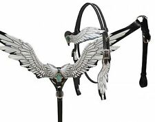 BLACK Leather Angel Wing Design Western Horse Bridle & Breast Collar Set
