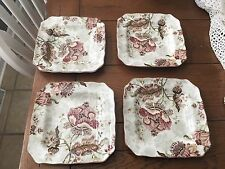 """222 Fifth """"Gabrielle Cream"""" Square Salad Plates Floral Pattern Set of Four (4)"""