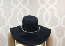 Helen Kaminski Australia Black Linen Hat Silver Leather Trim Euc Ret $185
