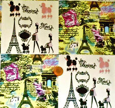 BONJOUR IVORY - PARIS THEMED SQUARES IN IVORY & YELLOW- LINEN LOOK COTTON F.Q.
