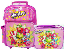 "Shopkins Large School Roller 16"" Large Backpack Lunch Bag 2pc Set New Licensed"
